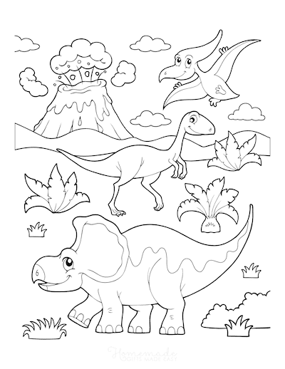 Dinosaur Coloring Pages Prehistoric Dinosaur Scene Erupting Volcano