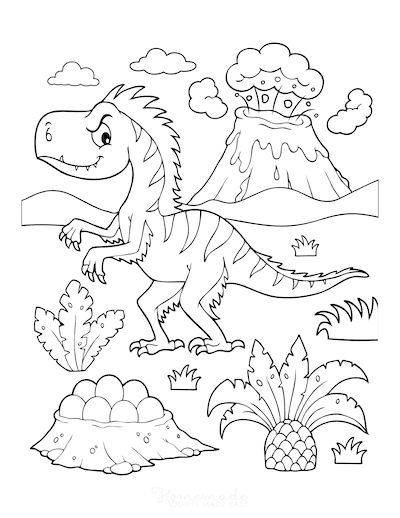 Dinosaur Coloring Pages Prehistoric Feathered Dinosaur Erupting Volcano