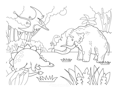 Dinosaur Coloring Pages Prehistoric Scene Dinosaurs and Woolly Mammoth