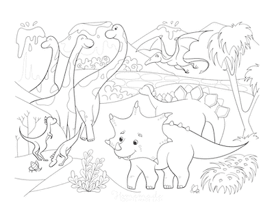 Dinosaur Coloring Pages Prehistoric Scene Lots of Dinosaurs