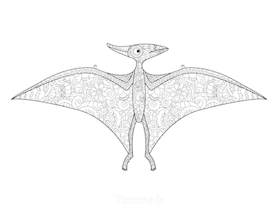 Dinosaur Coloring Pages Pterodactyl Doodle for Adults