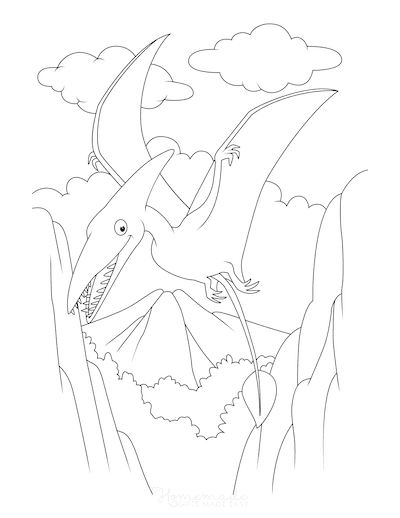 Dinosaur Coloring Pages Pterosaur Flying Over Landscape
