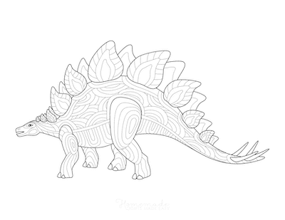 Dinosaur Coloring Pages Stegosaurus Doodle for Adults