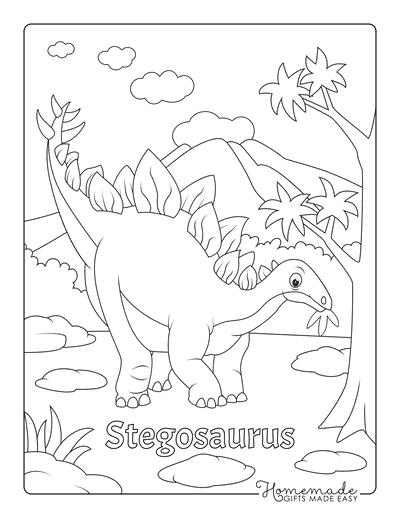 Dinosaur Coloring Pages Stegosaurus Eating Leaves
