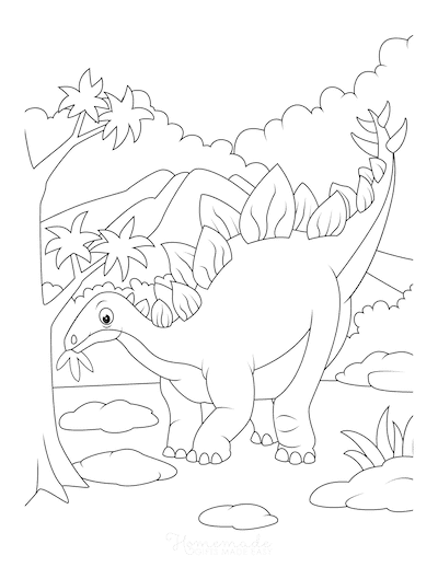 Dinosaur Coloring Pages Stegosaurus Eating Leaves