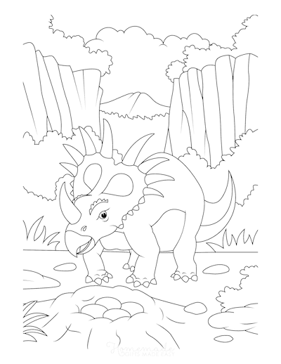 Dinosaur Coloring Pages Styracosaurus With Eggs