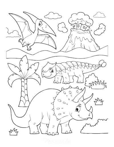 Dinosaur Coloring Pages Triceratops Ankylosaurus Flying Dinosaur Erupting Volcano