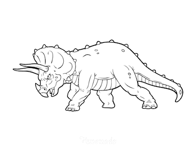 Dinosaur Coloring Pages Triceratops Charging