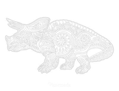 Dinosaur Coloring Pages Triceratops Doodle for Adults