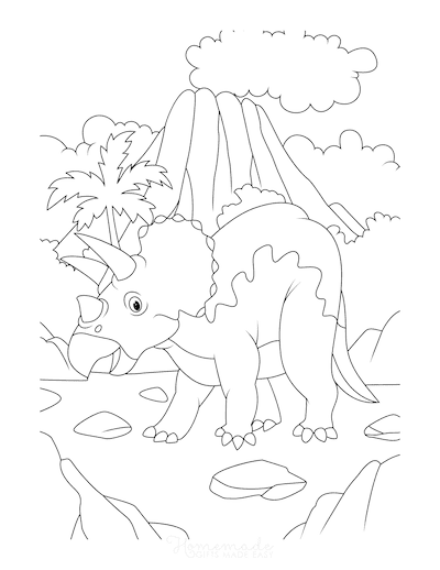 Dinosaur Coloring Pages Triceratops Volcano