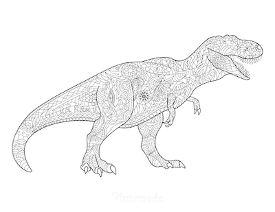 Dinosaur Coloring Pages Tyrannosaurus Doodle for Adults