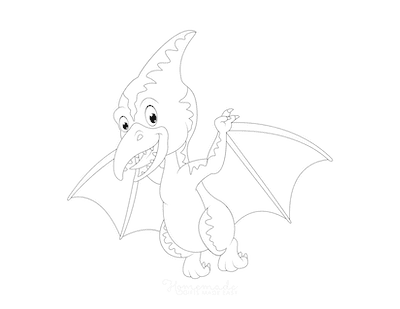 Dinosaur Coloring Pages Winged Flying Dinosaur for Preschoolers