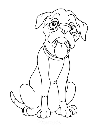 Dog Coloring Pages Boxer Cartoon