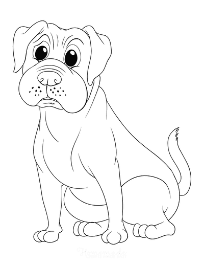 Dog Coloring Pages Boxer Outline
