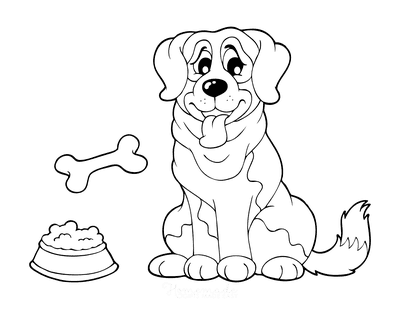 Dog Coloring Pages Cartoon Big Dog With Bone