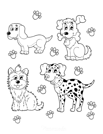 Dog Coloring Pages Cartoon Puppy 4 Breeds