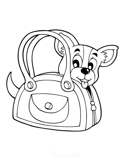 Dog Coloring Pages Cartoon Puppy in Bag