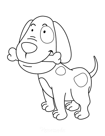 Dog Coloring Pages Cartoon Puppy With Bone