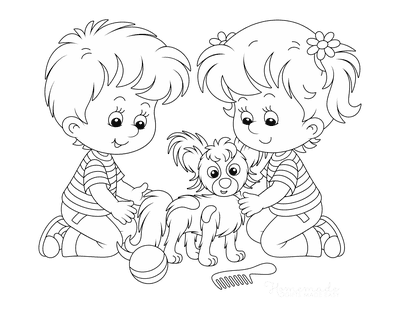 Dog Coloring Pages Children Playing With Puppy
