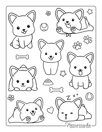 Dog Coloring Pages Corgi Cute Cartoon Mini Funny