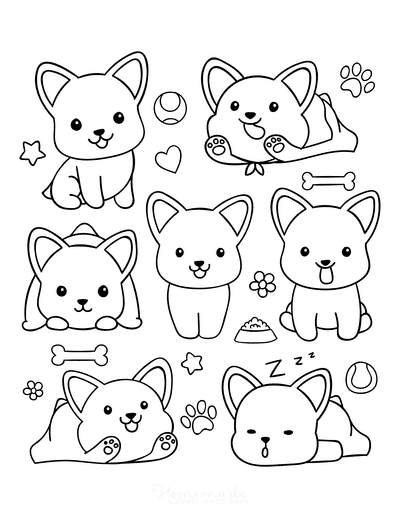 Dog Coloring Pages Corgi Cute Cartoon Mini Funny