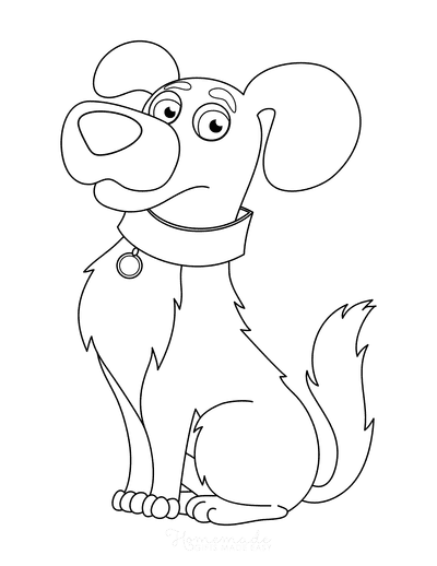 Dog Coloring Pages Cute Cartoon Dog With Collar