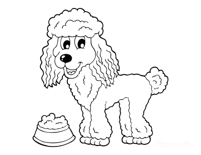 Dog Coloring Pages Cute Cartoon Poodle