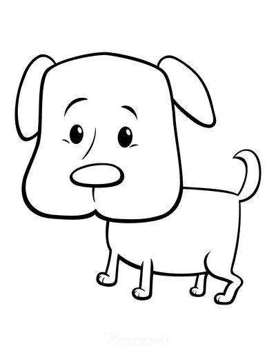 Dog Coloring Pages Cute Cartoon Puppy Dog