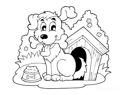 Dog Coloring Pages Cute Cartoon Puppy Kennel Food Bowl