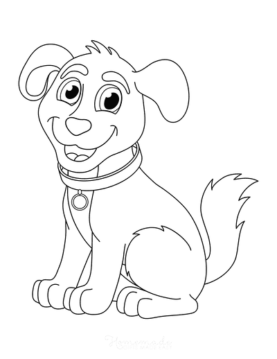 Dog Coloring Pages Cute Cartoon Puppy Sitting With Collar