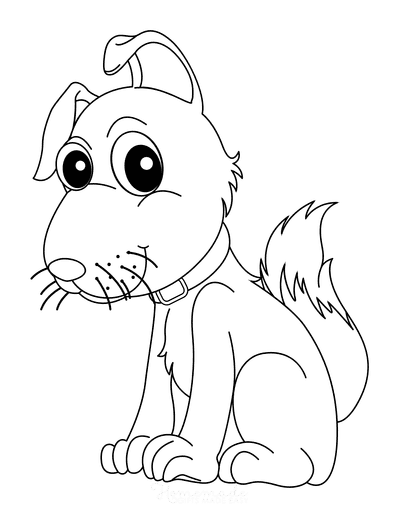 Dog Coloring Pages Cute Dog Sitting