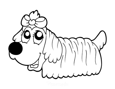 Dog Coloring Pages Cute Long Hair Bow Preschoolers