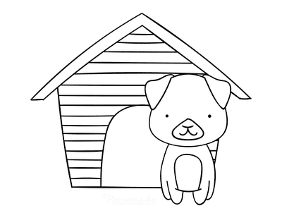 Dog Coloring Pages Cute Puppy and Kennel