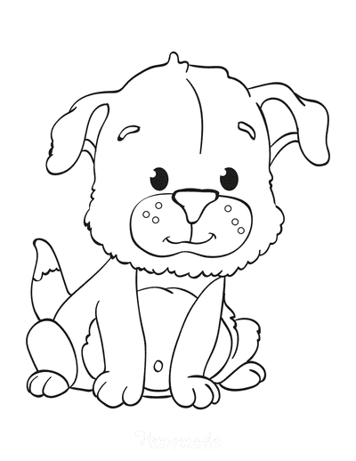 Dog Coloring Pages Cute Puppy Dog Sitting