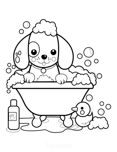 Dog Coloring Pages Cute Puppy in Bath Bubbles