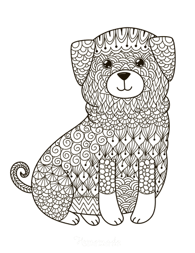 Dog Coloring Pages Cute Puppy Intricate Pattern for Adults