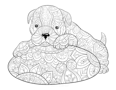 Dog Coloring Pages Cute Puppy on Cushion for Adults