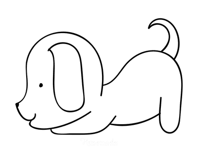 Dog Coloring Pages Cute Puppy Outline for Preschoolers