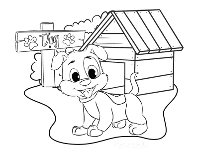 Dog Coloring Pages Cute Puppy Outside Kennel