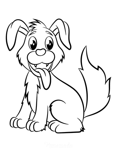 Dog Coloring Pages Cute Puppy Smiling Cartoon