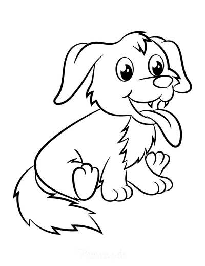 Dog Coloring Pages Cute Puppy Smiling Cartoon Sitting
