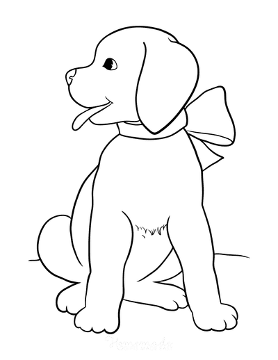 Dog Coloring Pages Cute Puppy With Bow