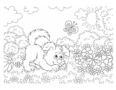 Dog Coloring Pages Cute Puppy With Flowers Butterflies