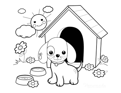 Dog Coloring Pages Cute Puppy With Kennel in Garden