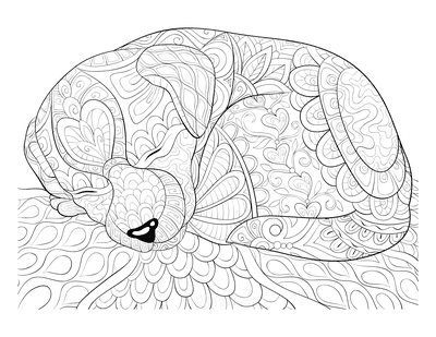 Dog Coloring Pages Cute Sleeping Puppy Patterned for Adults