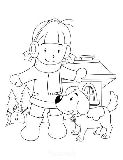 Dog Coloring Pages Cute Winter Girl Puppy Snow