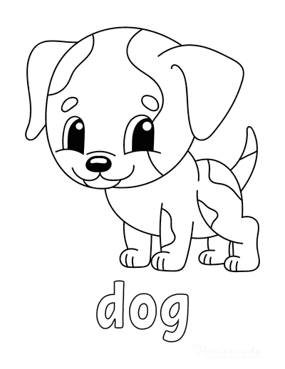 Dog Coloring Pages D O G Cute Preschoolers