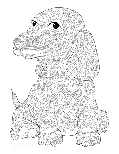Dog Coloring Pages Dachshund Intricate Pattern for Adults