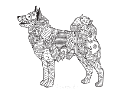 Dog Coloring Pages Detailed Pattern Sheba Inu for Adults