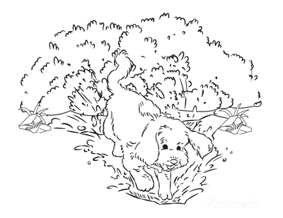 Dog Coloring Pages Dog Digging a Hole